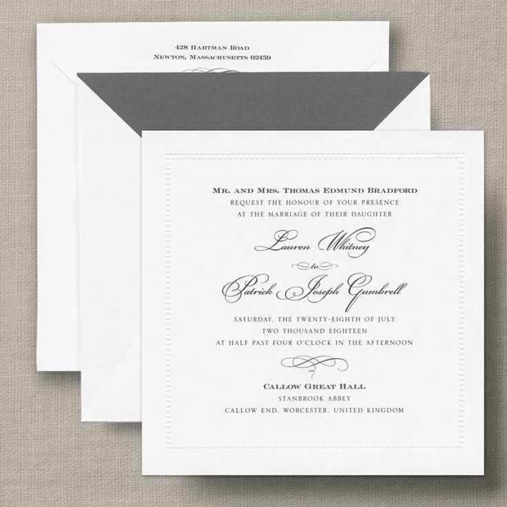 White Beaded Border Square Wedding Invitation