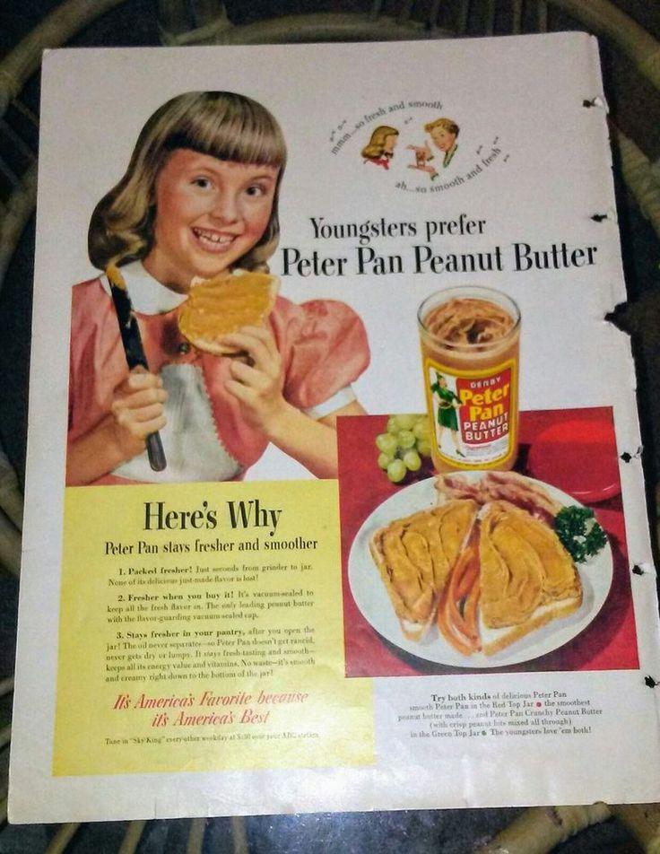 Original 1950's Peter Pan Peanut Butter Magazine Ad #PeterPan