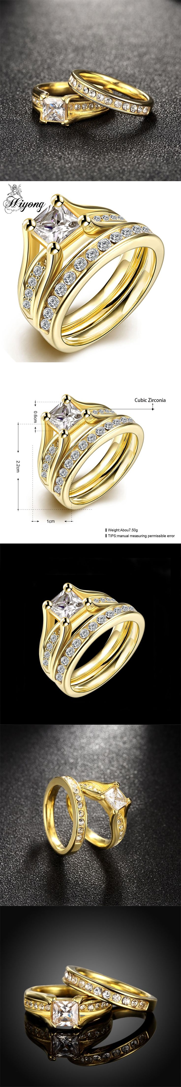 HIYONG Luxury Royal Nobility Wedding Set of Ring Nickle Free Stainless Steel Channel Setting AAA CZ Matching Bridal Wedding Ring