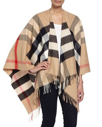 Collette+Check+Fringe-Trim+Cape,+Camel+by+Burberry+at+Bergdorf+Goodman.
