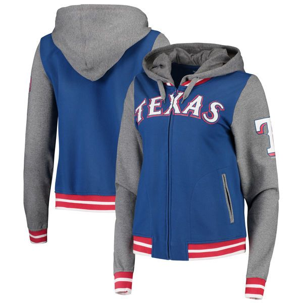 Texas Rangers 5th & Ocean by New Era Women's French Terry Contrast Sleeves Full-Zip Hoodie Jacket - Royal/Charcoal - $61.99