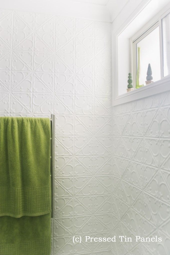 pressed tin panels snowflakes design installed example bathroom feature wall powder coat white