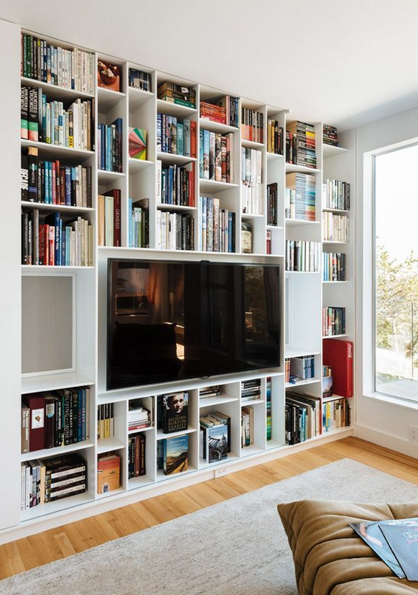 Bookshelves around the TV