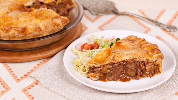 Beef and Mushroom Pie - Recipes - Best Recipes Ever - Although this meat lover's pie filling would make an endlessly satisfying meal on its own, mounding it between two flaky pie crusts brings it to a new level of deliciousness.