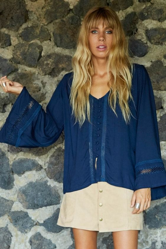 Mystic Blouse in Navy | Neon Gypsy