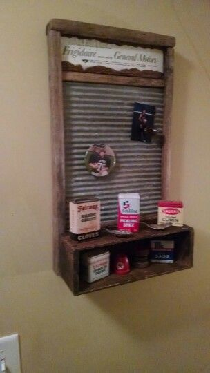 Vintage Washboard Magnetic Display Board With a Vintage Cheese Box Shelf