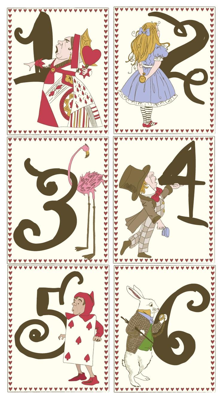 Alice in wonderland ~bridal shower theme table numbers Alice aux pays des merveilles --- Alice in Wonderland --- Alicia en el País de las Maravillas --- Alice im Wunderland
