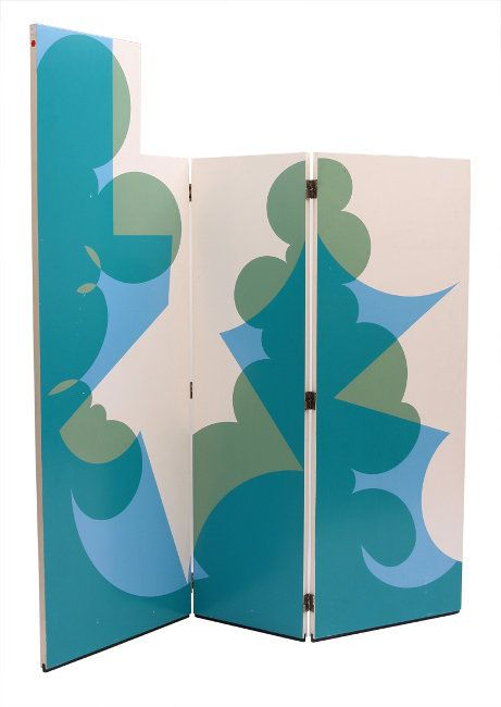 Giacomo Balla; Silk-Screened Honeycomb Wood Screen by Gavina for the Ultramobile Collection, 1971. Based on a 1918 Design.