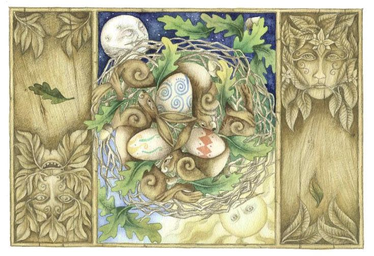 "Ostara by Christopher Bell.  Eostre / Ostara ~ Germanic pagans named the Spring Equinox after Ostara, their goddess of spring, fertility, and rebirth. In England, among the Anglo-Saxon tribes, Ostara was known as Eostre. The modern holiday of Easter is derived from the name ""Eostre""."