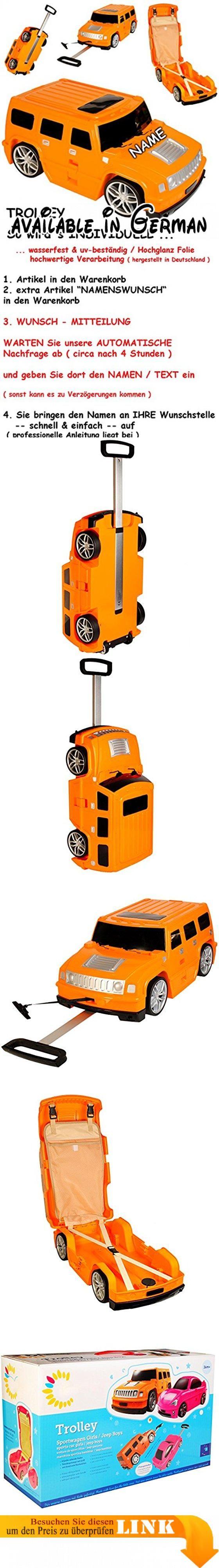 """3 in 1: großer _ Kinder - Trolley + Sitz -Koffer - """" Auto - Jeep / Truck - orange """" - incl. Name - Sitzkoffer zum Ziehen + Schieben / Sitzen & Spielen - Jungen - Trolly mit 6 Rollen - aus Kunststoff / Plastik - wasserabweisend & beschichtet - Koffertrolley / Kindertrolley Kindertrolly - Case - groß XL - Reiseset / Kinderkoffer - Koffer - Kindergepäck - Reisetrolley / Gepäck - Handgepäck - Reisekoffer - Reisetrolly - Autos Sportwagen / Rennwagen - Tasche / Kindertasche"""