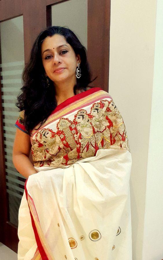 Pen Kalamkari Cut Work on Kerala Saree Paarvati Kiriyath Bharath ...