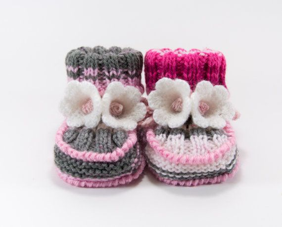 Hand Knitted Baby Booties  Gray Pink and White by SasasHandcrafts