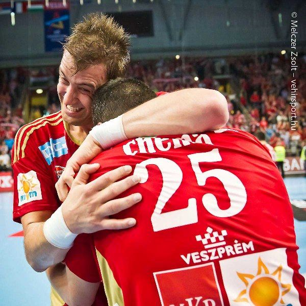 Chema and Momo, pure joy, happiness, victory, agains PSG, lovely people, real heroes, MKB Veszprém, Chema Rodriguez, Momir Ilic  photo: Zsolt Melczer