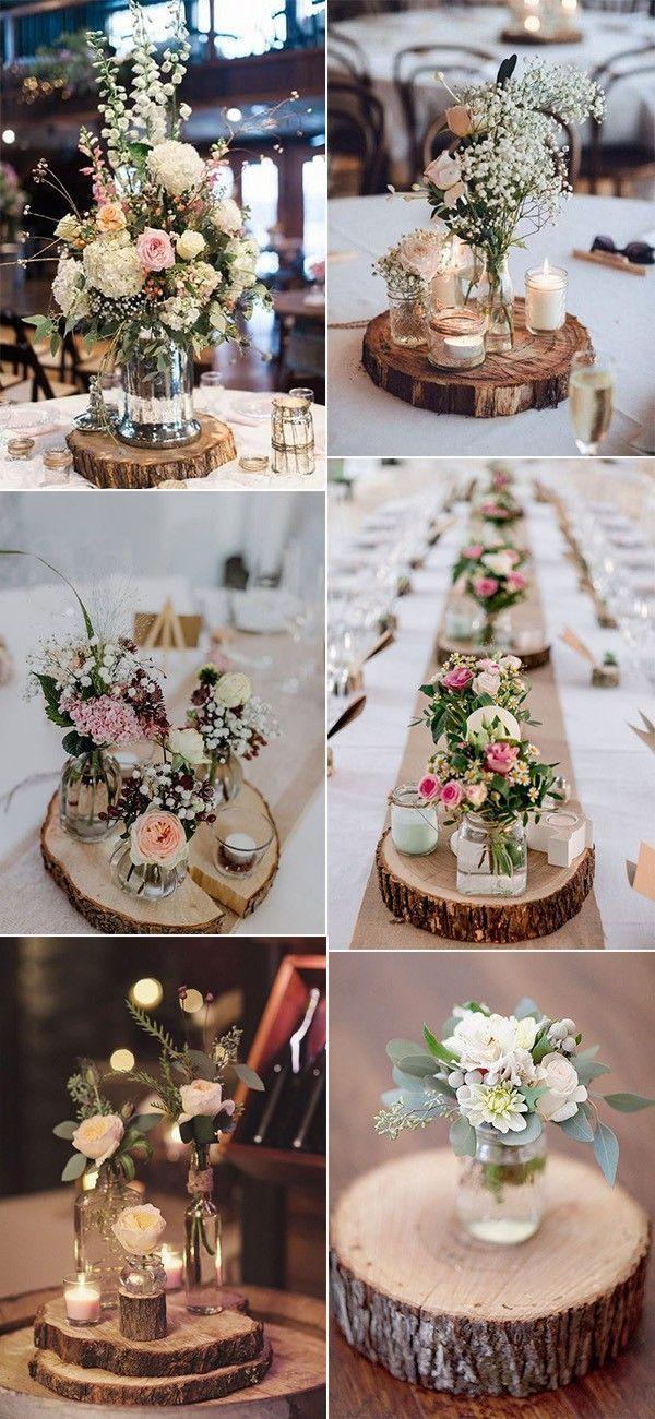 Idéias de centro de mesa para casamento rústico.
