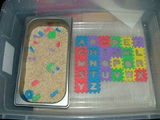 Monday, February 16, 2009  Letter Search  For this activity I had this foam alphabet puzzle that I got for 88 cents at Walmart:) and a dish of rice. I popped out all the letters and mixed them in with the rice. I set this up in the sensory tub so Caden already new the rules and everything would stay neat. Here is a picture of how I set this activity up.
