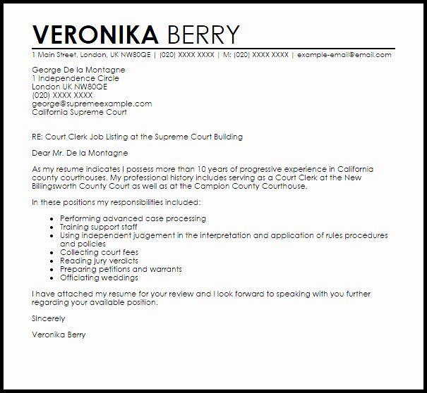 Court Letter Format Lovely Court Clerk Cover Letter Sample Cover Letter Sample Lettering Letter Writing Template
