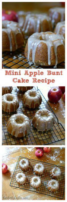 Mini Apple Bundt Cake Recipe...oh my goodness these are awesome. Don't skimp on the glaze! #bake #recipe
