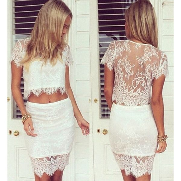New White Lace Twinset Skirt and Top now available at Ruby Liu! ♥ http://rubyliuboutique.com/collections/lace