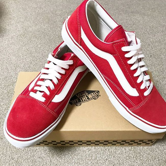 vans blanche ligne rouge
