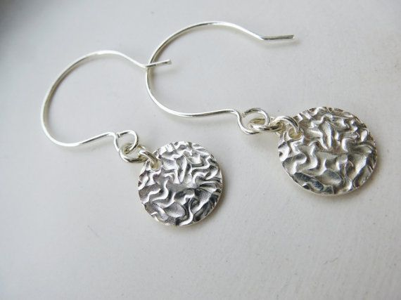 Textured silver coin earrings, disc silver earrings. So Cool ‪Charms #‬earrings. ‪#Minimalist‬ #‪jewelry‬. Just because less is more. https://www.etsy.com/shop/SoCoolCharms