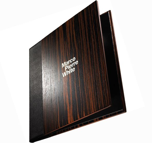 Title:      Wooden menu cover / Marco Pierre White  Client:      Fairmont Hotel (Abu Dhabi) / Frost  Materials:      Macassar wood veneer, board, leather  Processes:      Laser etch, hand paint, laminate, bind