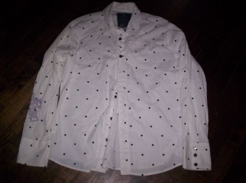 KILL-CITY-LIP-SERVICE-WHITE-POLKA-DOT-VINTAGE-LONG-SLEEVE-MENS-SHIRT-SZ-LARGE