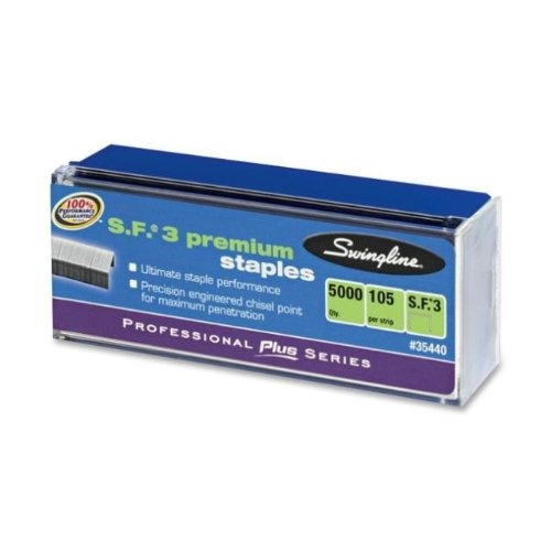 Swingline S.F. 3 Premium Chisel Point Staples, 0.25 Inch Leg Length, 105 Count Half Strips, Silver, 5000 Staples per Box (S7035440)Legs Length, 0 25 Inch, Inch Legs, Swinglin S F, Point Staples, Chisel Point, Premium Chisel, 025, 5 000 Staples