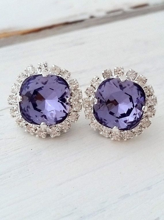 Purple earrings   Deep purple Tanzanite Swarovski crystal earrings by EldorTinaJewelry   http://etsy.me/1OH6UTU