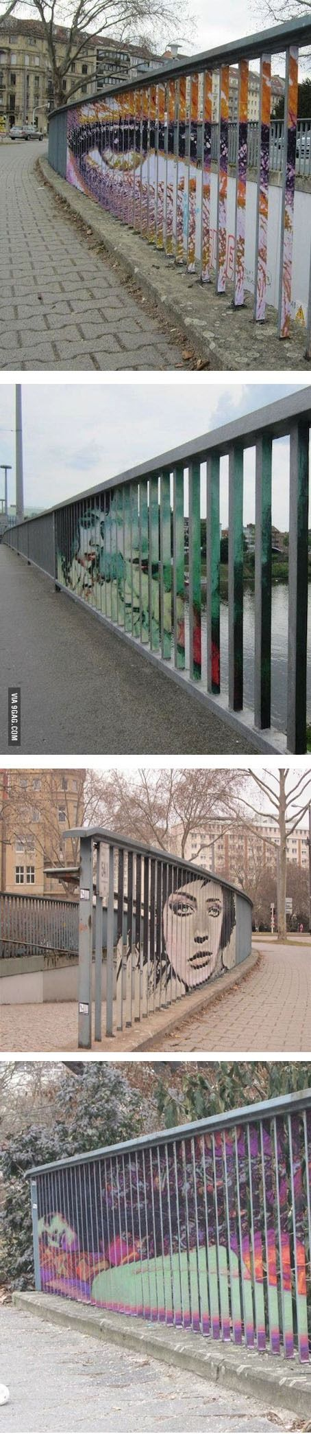 hidden street art on the side of railings only viewable from certain angles