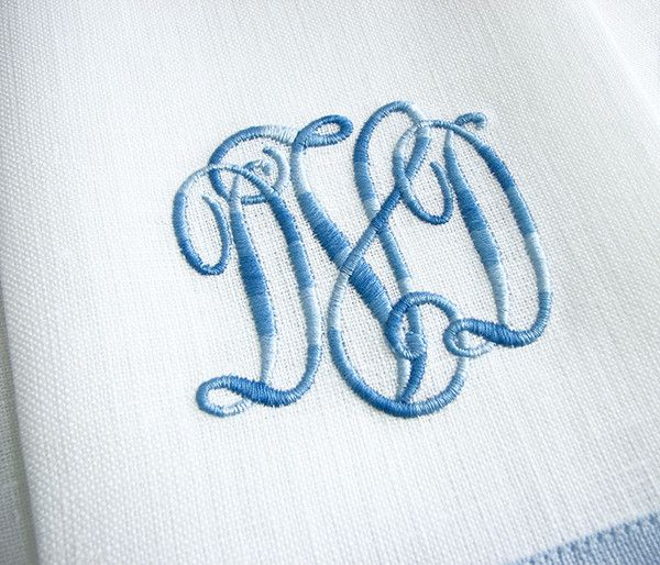 Handmade pair of 14 inch x 20 inch white Irish linen guest towels with 2 inch blue contrasting band and matching variegated thread monogram. A proof of your monogram will be emailed for approval. Plea