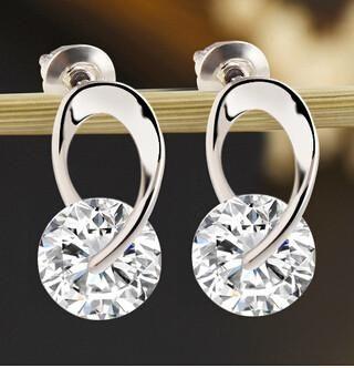 Silver Plated Zircon Crystal Studs Earrings