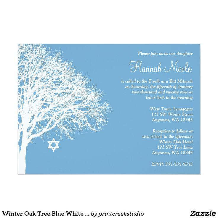 Winter Oak Tree Blue White Bat Mitzvah Invitations