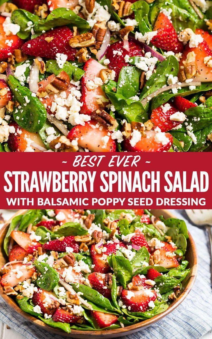 Der beste Spinat-Erdbeersalat mit Balsamico-Mohn-D…