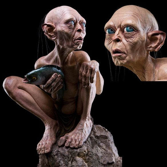 the lord of the rings gollum on a rock life size statue lord of