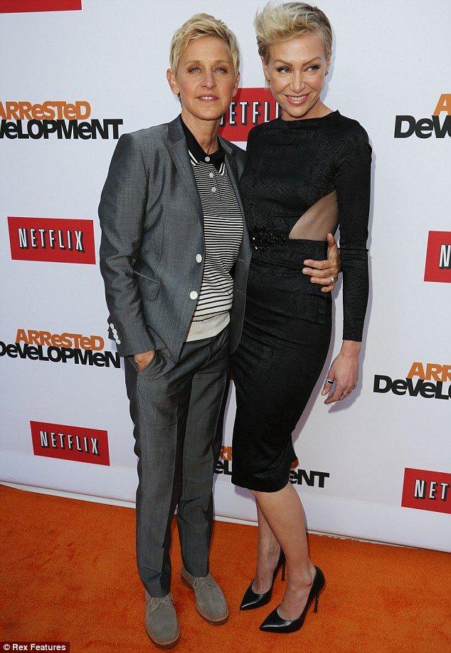Stepping Out Of Ellen S Shadow Portia De Rossi Dazzles In Orange As She Prepares For Arrested Development Comeback Ellen And Portia Portia De Rossi Ellen Degeneres