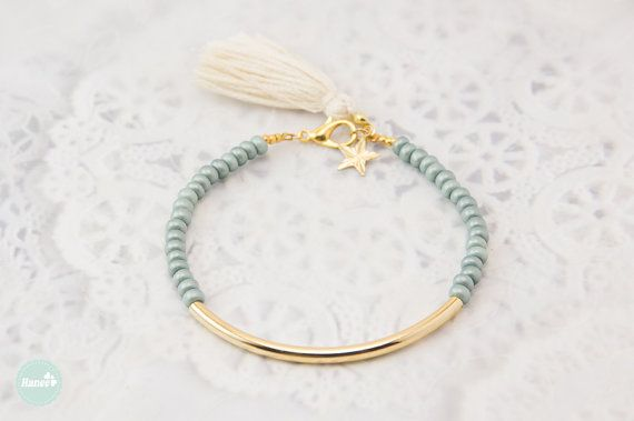 Gold tube bracelet Beaded Bracelet beaded bangle by Haneelove