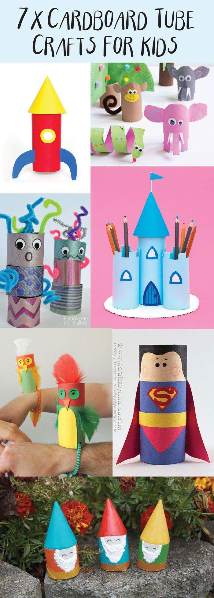 7 great kids craft ideas to make from cardboard tubes! Toilet roll tube craft ideas that are fun and simple and everyone has them already in their homes!
