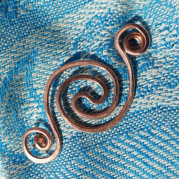 Copper Shawl Pin Fibula Brooch with Celtic by BebesBaublesJewelry, $20.00