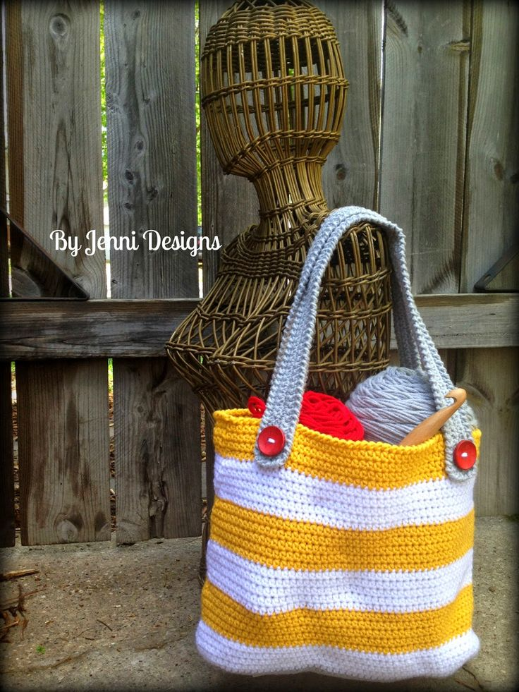 By Jenni Designs: Free Crochet Pattern: Small Striped Tote Bag