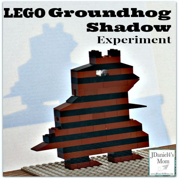 This STEAM experiment invites kids to build a LEGO groundhog and explore various ways to make a groundhog shadow.