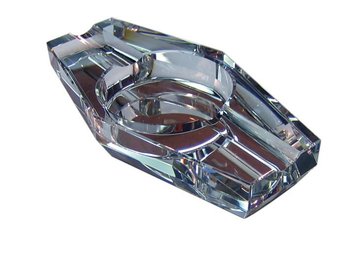 2 CIGAR HEXAGON CRYSTAL ASHTRAY IN GIFT BOX