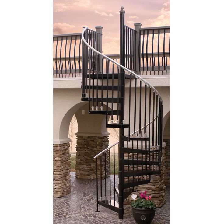 The Iron Shop Houston 60 In X 10.25 Ft Black Spiral Staircase Kit Hb5013