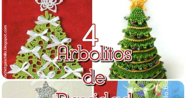 4 Arbolitos de Navidad para tejer al crochet