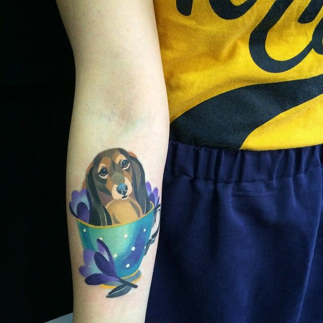 Sasha Unisex Teacup and Dachshund: Perfect color scheme, great shading