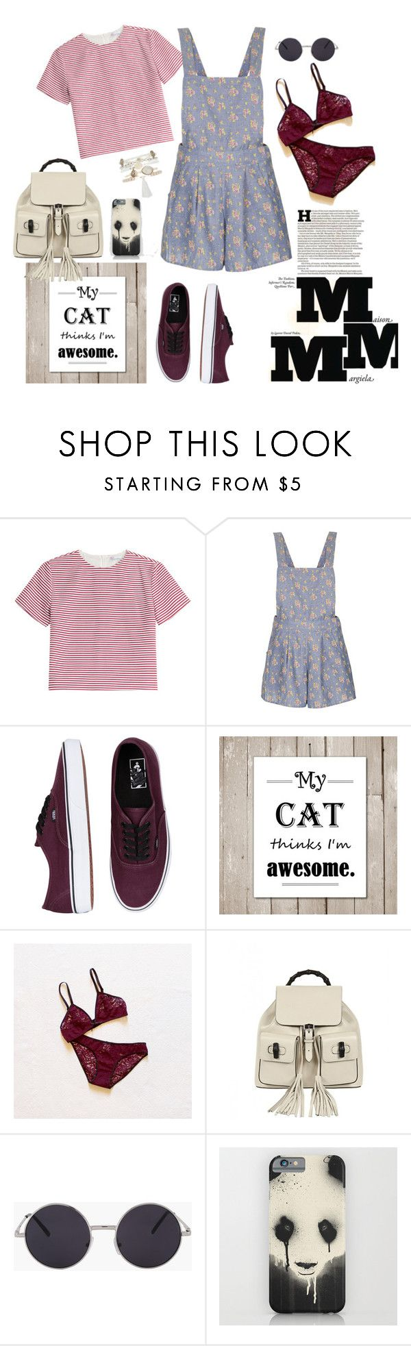 """""""Trouble"""" by lila-pauser ❤ liked on Polyvore featuring RED Valentino, Topshop, Vans, Gucci, Monsoon and Maison Margiela"""