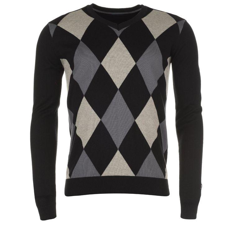 Slazenger   Slazenger Argyle V Neck Sweater Mens   Mens Sweatshirt