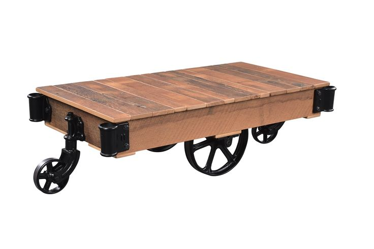 Urban Factory Cart Coffee Table Mix century old barnwood and metal accents and you've got the latest in urban chic style with the Urban Factory Cart Coffee Table.