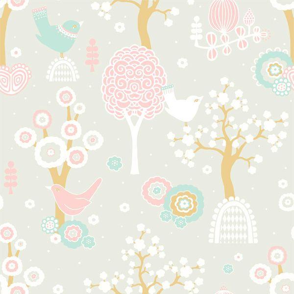Cherry Valley Wallpaper Grey Sample