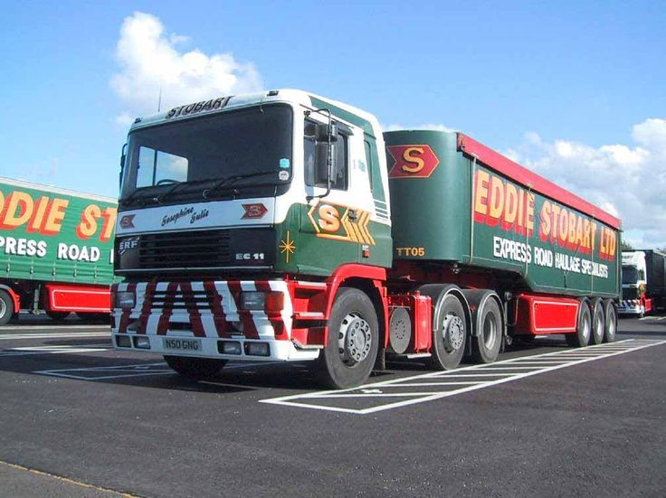 ERF EC11 parked up at our Penrith depot. This is the last of the owner driver trucks to feature the old painted livery, pulling the last of the tipper trailers.