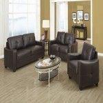$1274.52  Coaster Furniture - Jasmine Snow Brown Bonded Leather 3 Piece Living Room Set - 502731-32-33 #coasterfurniturebrown #coasterfurniturelivingrooms